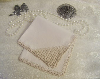 Lace Corner Handkerchief, Hanky, Hand Crochet, Lace, Lacy, Custom Embroidered, Personalized, Monogrammed, Off White, Ecru, Embroidered