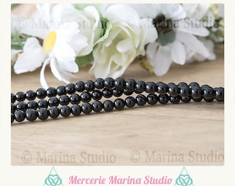10 natural 8mm 6mm or 4mm black onyx beads black onyx - round beads * reiki * chakras