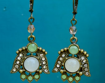 Antique Brass Embellished Pendant Earrings