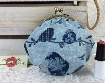 Handmade coin purse frame kiss clasp fabric change wallet pouch Blue Birds