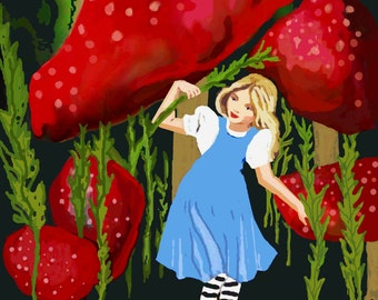 When Alice was just Small/ Childrens wall Art Purchase as an ATC Card or a Giclee Print