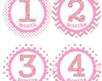 Baby Monthly Milestone Growth Stickers Pink Glitter Dots Chevrons MS004 Nursery Theme Baby Shower Gift Baby Photo Prop