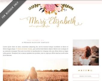Blogger Template - Mobile Responsive & Dropdown Menu - Elegant Floral Blog Design - INSTANT DOWNLOAD - Mary Elizabeth Theme