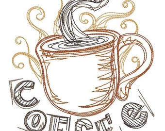 Coffee Jitters Embroidered on Hand Towel or Tea Towel