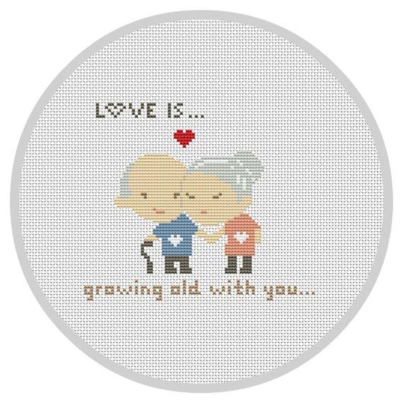 LOVE IS... Cross Stitch Pattern Modern Wedding cross stitch