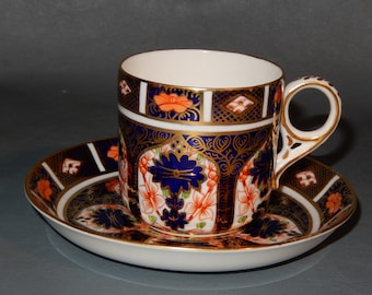 Vintage ROYAL CROWN DERBY Demi Cup Saucer Demitasse Old Imari 1128 Gold   ~Free Shipping!