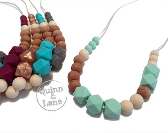 Silicone Teething Necklace CHOOSE COLOR - Bite Beads Nursing Necklace  - Teether Chewing Beads - Chew Jewelry Beads  - Love Hex w/Wood