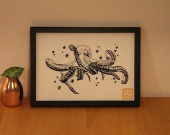 Linocut print Octopus