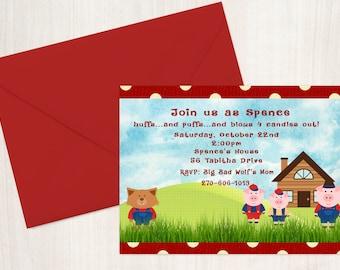 Three Little Pigs Birthday Invitation - Birthday Party - Birthday Party Invitation - Birthday Invites - 3 Little Pigs Party Invitations