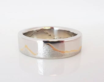 GOLD INLAY MOUNTAIN Ring, 7mm band, Handmade with Platinum or Palladium with 22k Gold inlay, Platinum Wedding band
