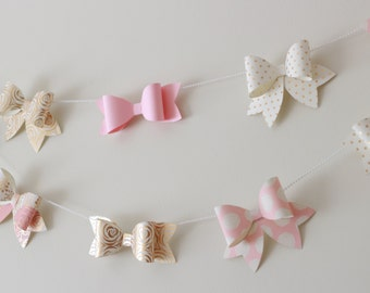 Pearl and Bow Garland, Bow Garland,  Girl Nursery Decor, Girl Baby Shower Decor, Baby Shower Garland, Bow Theme Party, Princess baby shower