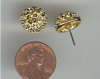 12 Vintage Gold Plate Unset Rhinestone Cluster Dome Earring Settings Z561