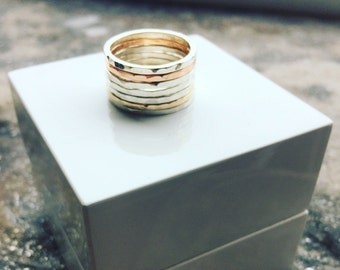 Silver and 9ct Gold Hammered Stacking Rings