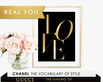 LOVE Type Black with Real Gold Foil Art Print 11x14, 8x10, 5x7