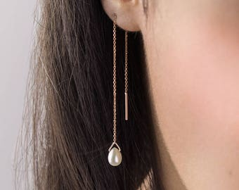 Pearl Birthstone Earrings, 14K Gold Earrings, Rose Gold, June Birthstone Earrings, Gold Chain Earrings, White Pearl Drop, White Earrings