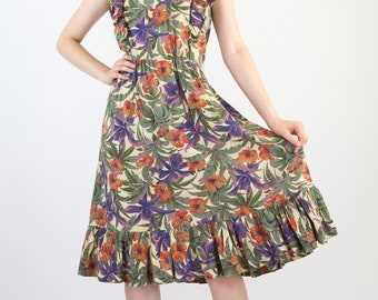 Pretty Vintage Late 70's Tropical Floral Print Summer Holiday Cotton Dress