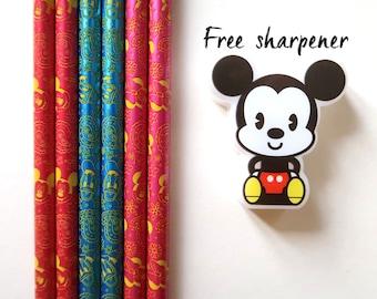 Set of 6 2B pencils | Disney pencils | cute stationery | Mickey Minnie Donald Duck | Disney planning | graphite pencils | characters pencil