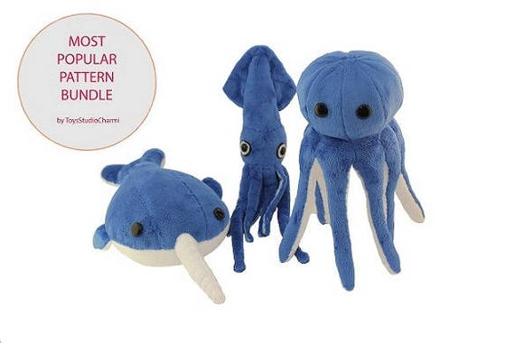 Aquatic Plush Friends PDF Sewing Pattern Bundle Narwhal Octopus ...