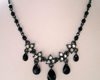 1928 Jewelry Black Diamond-Like Crystal Necklace