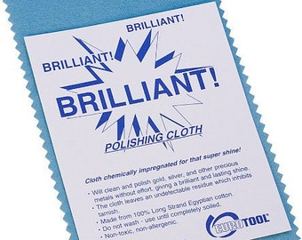 Brilliant! Anti-Tarnish Polishing Cloth By EuroTool, Chemically Impregnated for Super Shine! Gold, Sterling Silver, Other Precious Metals