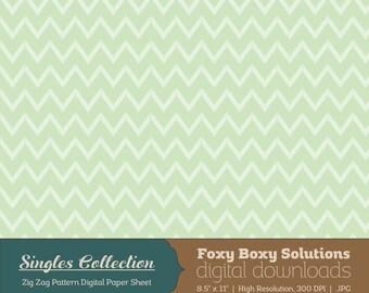 Green Zig Zag Printable Digital Paper - Instant Download Supply for Scrapbooking & Crafting - Single Sheet Paper Printables