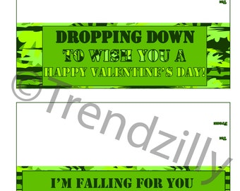 Paratrooper Bag Topper Valentine, Valentine's Day, Boy Valentines, Kids Valentine, Army Man, Camo Valentines, Printable Instant Download.