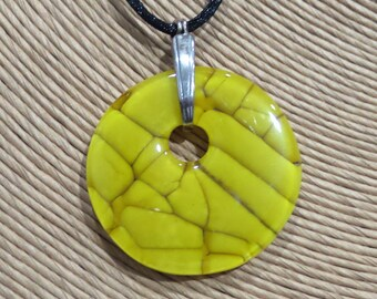 Mustard Yellow Necklace, Autumn Fashion, Fused Glass Jewelry, Handcrafted Statement Necklace - Autumn Harvest - 4591-5