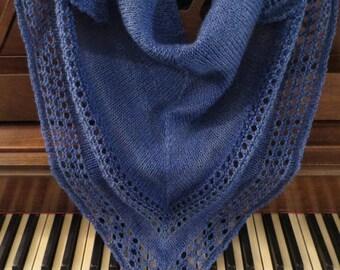 Shawl, Light and Up Hand Knit Wool Shawl, Ready To Ship