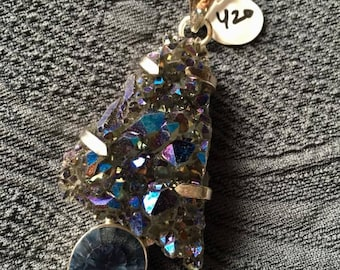 Stellar Sterling Silver and Titanium coated quartz exotic pendant