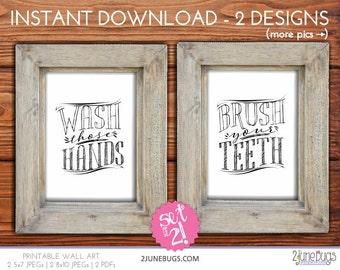 Printable Bathroom Wall Art - Wash Those Hands Wall Art - Brush Your Teeth Wall Art - Rustic Kids Bathroom Wall Art - Bathroom Wall Decor