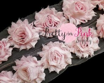 BABY PINK Shabby Rose Trim - Shabby Chiffon Rosettes - Solid Shabby Trim - 1/2 Yard or 1 Yard - Shabby Flowers