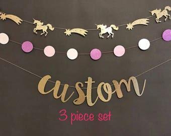 Unicorn Banner, Custom Banner, Unicorn  garland, Unicorn Birthday Party Decorations, Unicorn Baby Shower , Unicorn Photo Props