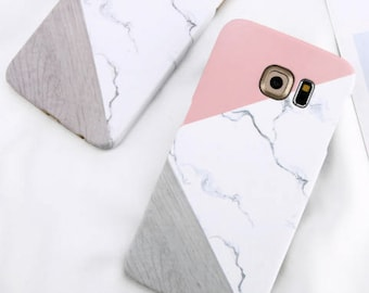Marble and pink minimalist phone case for Samsung Galaxy S6 S7 S8 Edge Marble Geometric Stitching Stone Hard Back Cover