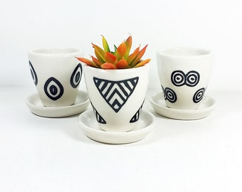 NEW. First group of 3 Small Batch Planters for your cute little plants, simply finished in Black & White print motifs - Ready to Ship