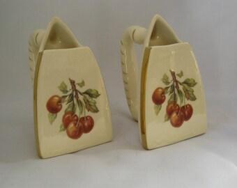 Pair of Vintage Ceramic Iron Planters Cherry Pattern