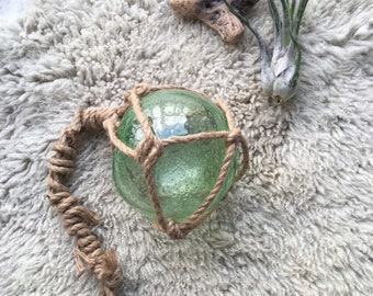 Vintage Japanese Fishing Buoy / Seagreen Floating Glass Ball / Jute-wrapped Handblow Glass / Nautical Decor