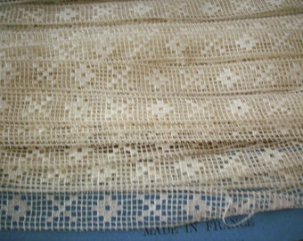 Antique lace by the yard or roll ivory filet lace french 1800s  yardage pure cotton