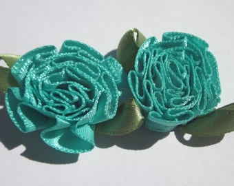 2 large bows in colorful fabric flower 25 mm (A114)