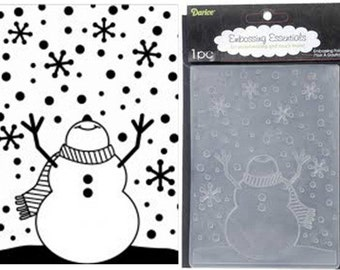 SNOWMAN with ARMS Up -SNoW Man  LOOKiNG At The SkY - by Darice A2 EMbossing Folder