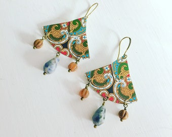Recycled Tin Earrings - Upcycled Tin - Metal - Lightweight - Nickel Free Ear Wires
