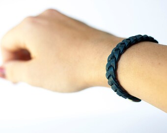 Braided Leather Bracelet / Pacific Navy