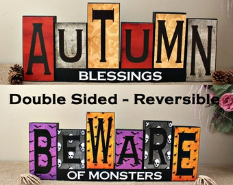 Reversible Autumn and Halloween Sign, Halloween Decorations, Fall Home Wood Decor, Autumn Blessings, Beware of Monsters, Double Sided Blocks