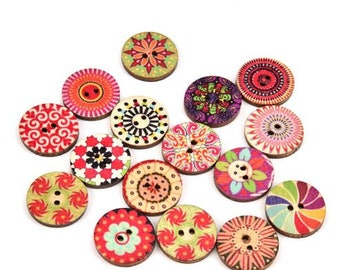 100 x Retro Wooden Buttons - 15mm - two holes