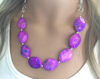 Purple Statement Necklace & Earrings, purple jewelry, Your Choice GOLD or SILVER, purple bib chunky necklace, purple blue painted necklace