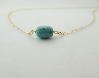 Turquoise necklace, gemstone necklace , minimalist necklace, gold filled necklace