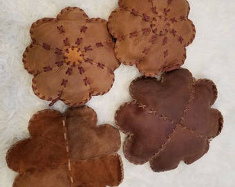 Leather Flower Pillows