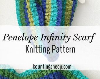 Penelope Infinity Scarf Knit Pattern PDF Digital Download Only Knitting Scarf Pattern