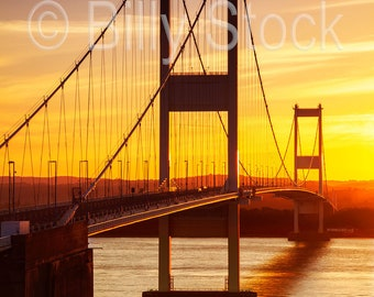 003 The First Severn Bridge at Sunset, Wales, UK