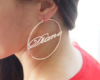 A Pair of Sterling Silver Hoop Earrings, Cursive Font, ANY NAME Available, Customize yours NOW!, Name Hoop Earrings