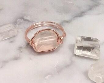 Raw Quartz & Rose Gold ring • Quartz ring • Rose Gold ring • Raw Quartz ring • Gemstone ring • Boho ring